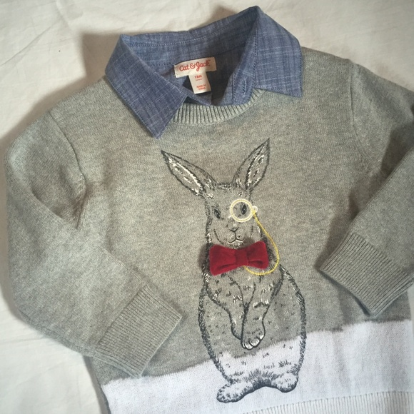 Cat /& Jack Toddler long Sleeve Rabbit in Hat Button Down Shirt NWT